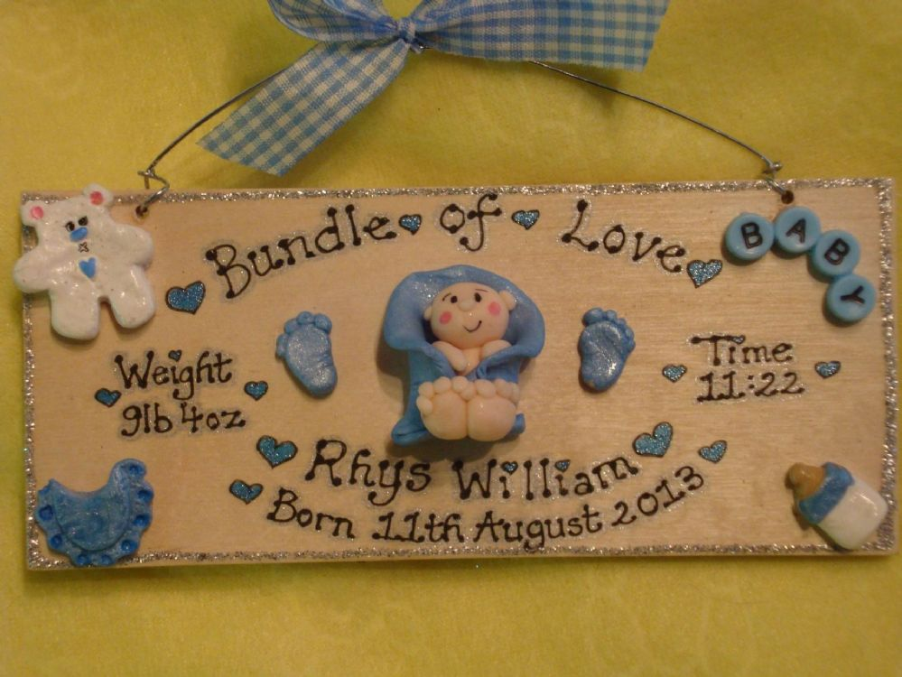 Personalised New Baby Birth Celebration Shower Sign Time